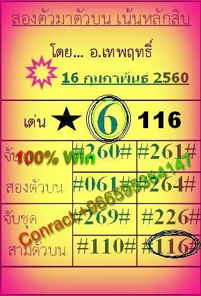 VIP LOTTERY NON MIS SUPER TIP 16=02=2560 116